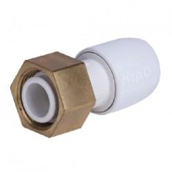 "raccord Hepworth blanc - adaptateur écrou laiton 1/2"" - diam.15mm"