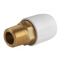 "raccord Hepworth blanc - adaptateur écrou laiton 1/2"" mâle - diam.15mm"
