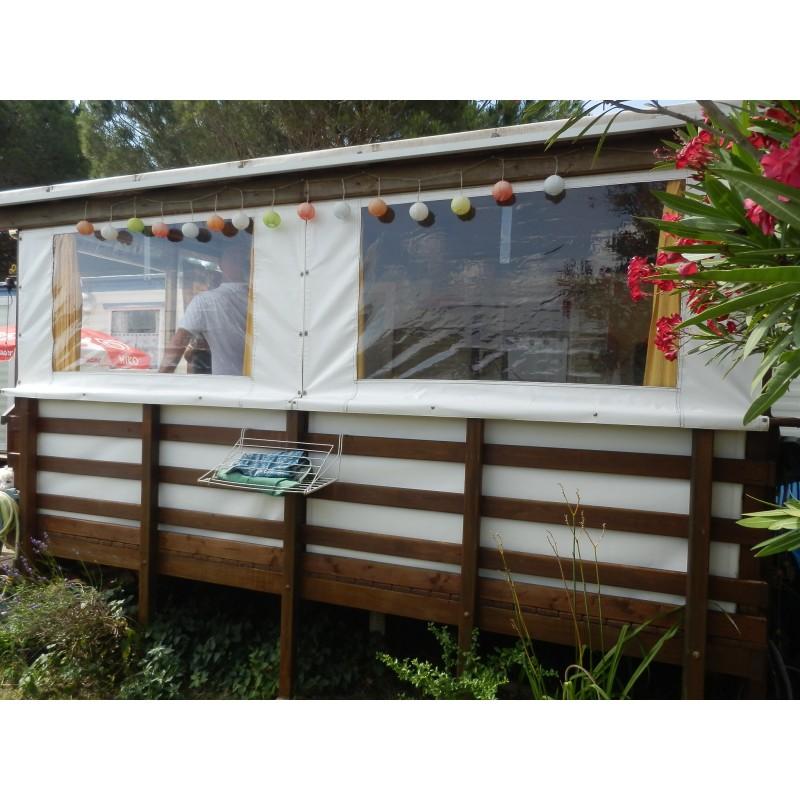 terrasse couverte & fermée mobil home en bois autoclave - Amapola caravane  mobil home
