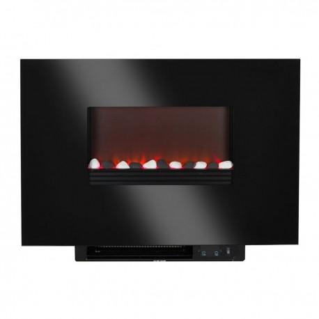Cheminée électrique à encastrer lavaflame II avec minuterie, verre noir plat, couleur noir