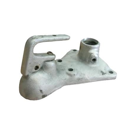 Tête d'attelage pour mobilhome 50 mm (sans frein) triangulaire 4 trous poignée pour roue jockey couleur galvanisé