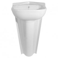 Lavabo d'angle encastré avec bonde - 410x420mm - couleur blanc