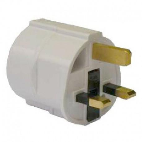 Adaptateur électrique anglais/français avec mise à la terre et fusible couleur blanc