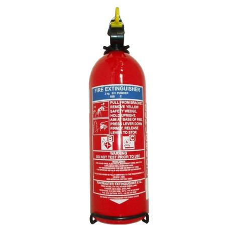 Extincteur à poudre polyvalente ABC, vanne et sauge en acier inox - 2kg