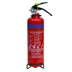 Extincteur à poudre polyvalente ABC, vanne et sauge en acier inox - 1kg