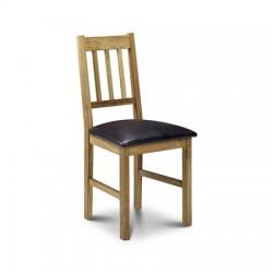 Chaise de salle à manger COXMOOR couleur chêne - assise marron - dim.45x50x90cm