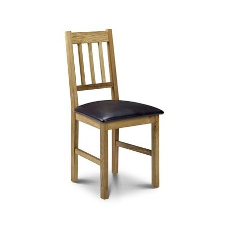 Chaise de salle à manger COXMOOR en chêne - assise marron - dim.45x50x90cm