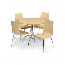 Table ronde de salle à manger MANDY dim.90x75cm finition érable