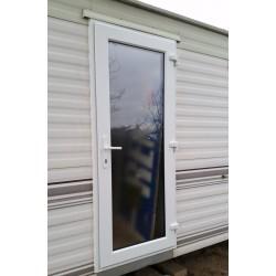 Porte d 39 entr e mobilhome pvc vitr e avec encadrement - Charniere de porte d entree ...