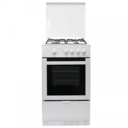 Gazinière BOMPANI four & grill, 4 brûleurs, couvercle métal, pieds réglables, avec sécurité - dim. 900x500x500mm couleur blanc
