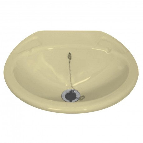 Lavabo encastré petit avec bonde - 435x380mm - couleur ivoire
