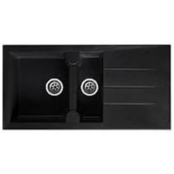 Evier égouttoir PAROS en résine composite - 998x498mm couleur noir granite