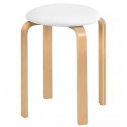 Tabouret DANDY assise blanche et pieds en bois clair - dim. 41x47cm