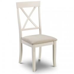 Chaise de salle à manger DAVENPORT assise faux daim et pieds laqués blanc - dim.45x52x96cm