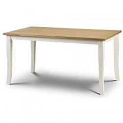 Table de salle à manger DAVENPORT finition blanc et placage chêne - dim. 150x90x75cm
