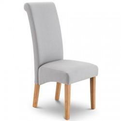 Chaise de salle à manger RIO tissu gris et pieds en bois - dim.62x49x107cm