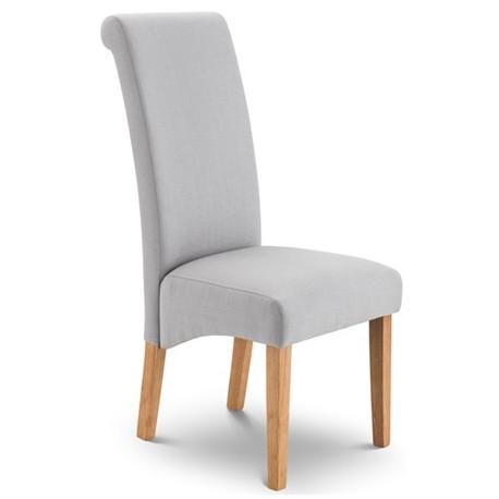 Chaise de salle manger rio tissu gris et pieds en bois for Chaises salle a manger bois et tissu