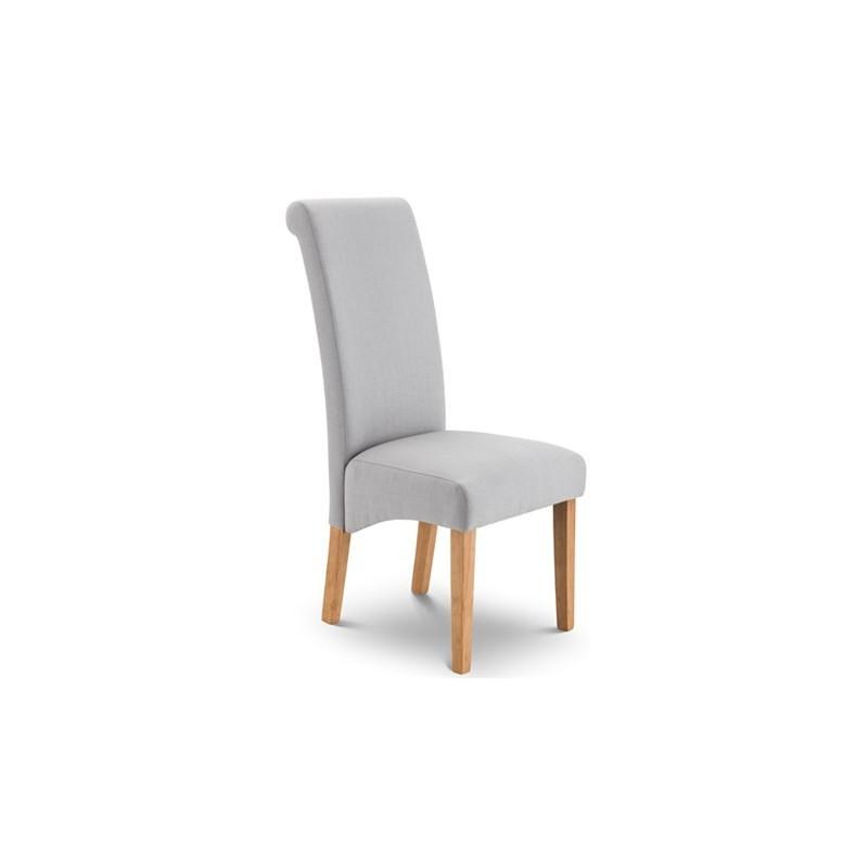 Chaise de salle manger rio tissu gris et pieds en bois for Chaise salle a manger tissu gris