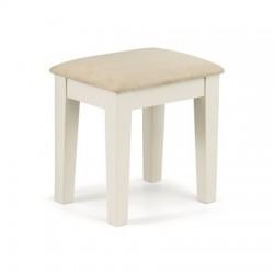 Tabouret PORTLAND assise blanc cassé et pieds laqués blanc - dim. 39x33x42cm