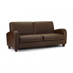 Canapé 3 places VIVO faux cuir marron foncé - dim.183x79,5x83cm