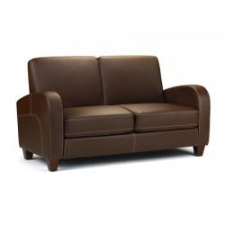 Canapé 2 places VIVO faux cuir marron foncé - dim.147x79,5x83cm