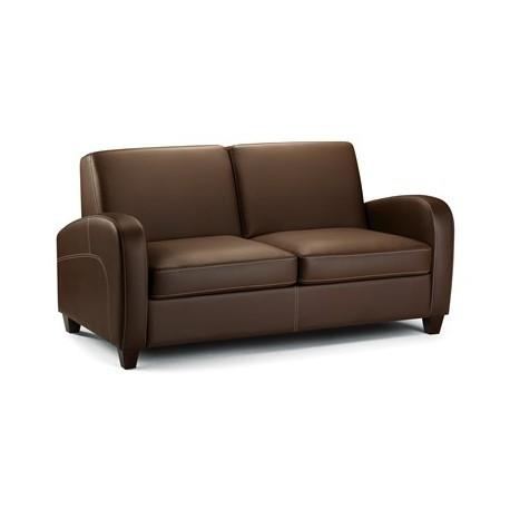 Canap lit 2 places vivo faux cuir marron fonc dim for Canape lit cuir 2 places