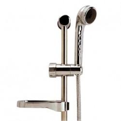 Support de douche plastique chromé avec pomme douche + flexilble + support porte savon + fixations