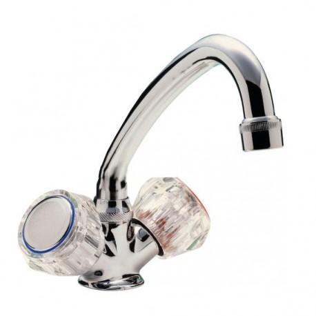Robinet mélangeur monotrou chrome - bec standard pour lavabo