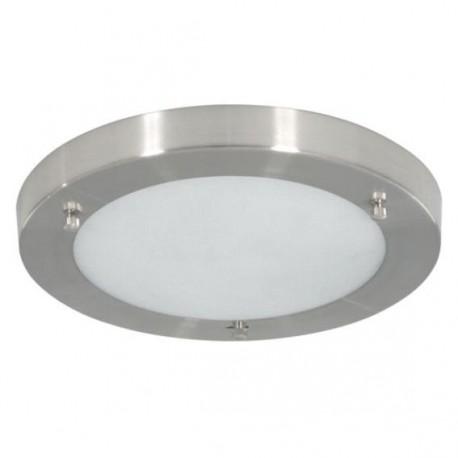 Plafonnier base métal effet chrome, globe verre - diam. 310mm 60W E27