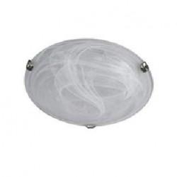 Plafonnier base métal effet chrome, globe verre - diam. 255mm 60W E27