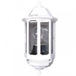 Eclairage extérieur demi lanterne aluminium et verre IP44 360x155mm 60W E27 couleur blanc