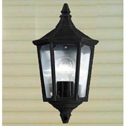Eclairage extérieur demi lanterne aluminium et verre IP44 425x240mm 60W E27 couleur noir